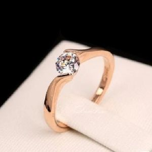 Women Austrian Cubic Zirconia Ring Rose Gold Color